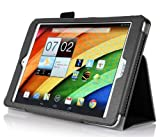 ACER A1-850 Case, IVSO ACER A1-850 Case- High Quality Leather Slim-Book Stand Cover Case-for ACER lconia Tab 8 A1-850 Tablet(Black)