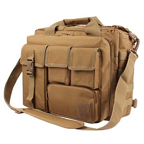 - GES Laptop Bag - 15.6 Inch Men's Messenger Bag Multifunction Tactical Military Briefcase, Computer Shoulder Handbags for Laptop/Camera, Khaki