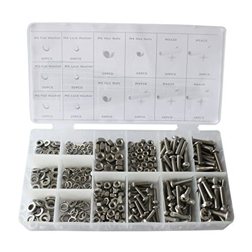 475pcs Metric Pan Head Philips Machine Bolts Nuts with Lock and Flat Washers Kit