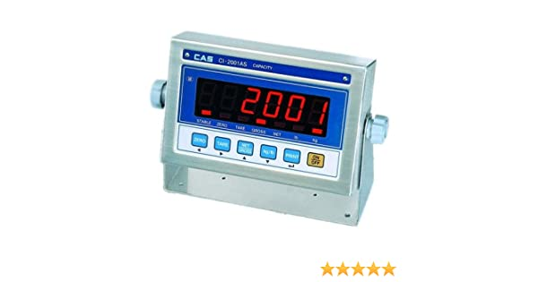 7.87 W x 5.11 D x 2.08 H Stainless Steel Case CAS CI-2001AS Stainless Steel Weighing Indicator with Bright LED Display