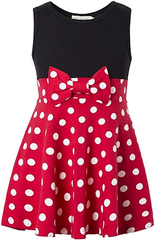 Toddlers Kids Girls Cartoon Polka Dot Minnie Mouse Party Dress Sleeveless Dress
