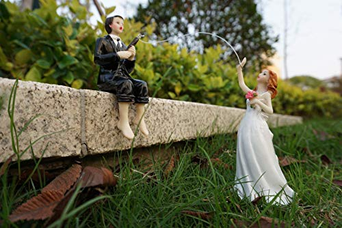 Wishlink Cake Hooked on Love Fishing Groom Catching Bride Funny Wedding Cake Topper Decor ()