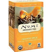 Numi Organic Tea Orange Spice Tea, 16 Bags, Organic White Tea Blended With Citrus and Herbal Blend in Non-GMO Biodegradable Tea Bags, White Tea, Low Caffeine Premium Bagged Tea