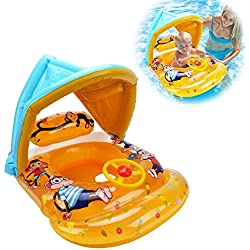 HANMUN Baby Swim Float Inflatable Swimming Ring Infant Toddlers Pool Swim with Sun Canopy Outdoor Water Toys,Yellow
