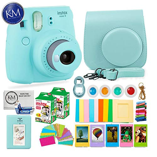 Fujifilm instax Mini 9 Instant Camera Ice Blue + 20 Instant Film Pack x 2 + Instax Accessories Bundle