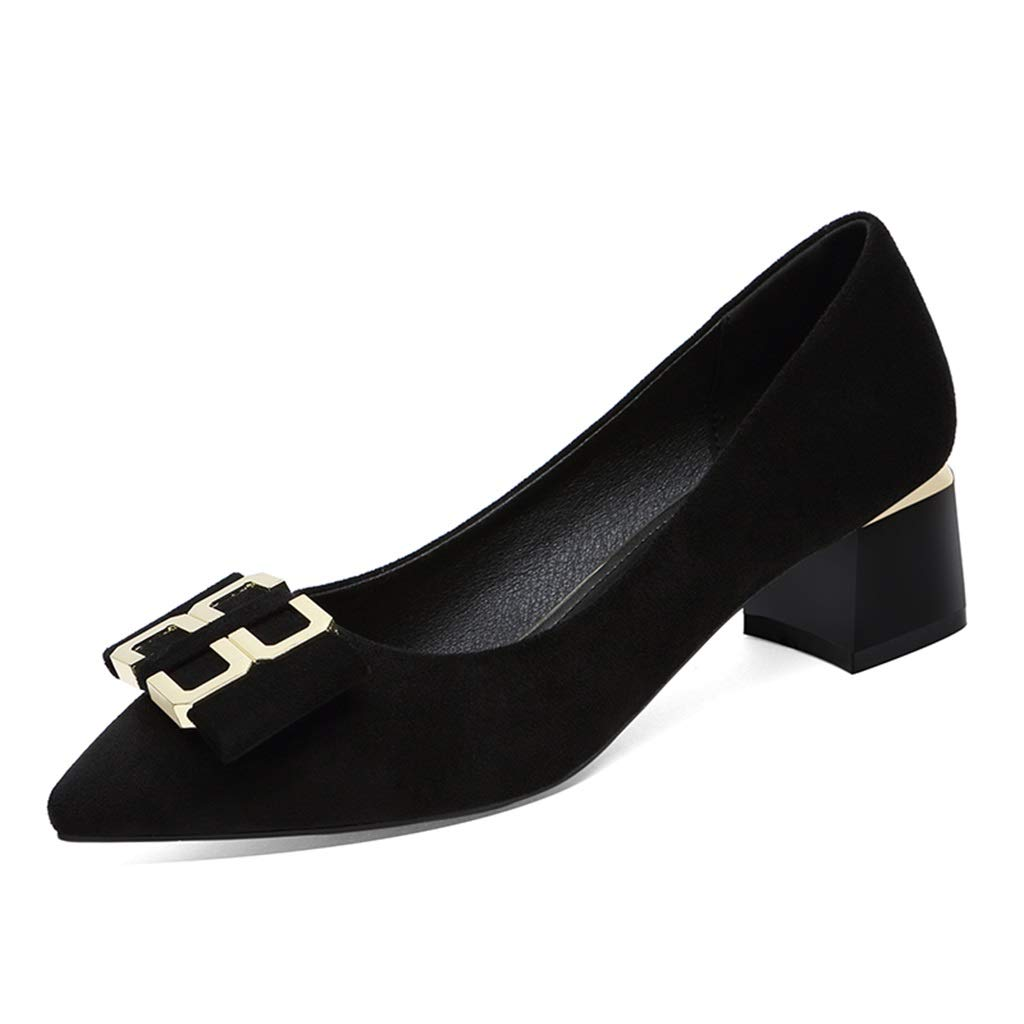 BLACK shoes Female 2019 Fashion Spring New Shallow Mouth Set Foot shoes Female Pointed Thick with Women's shoes Comfortable Large Size shoes with Black (color   Black, Size   40)