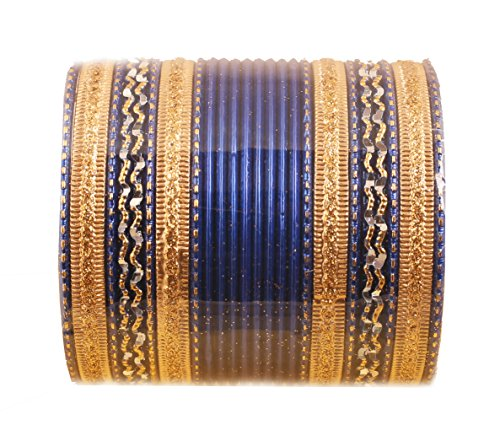 Gold Tone Metal Bangle Bracelet - Touchstone New Colorful 2 Dozen Bangle Collection Indian Bollywood Alloy Metal Textured Blasting Blue Designer Jewelry Special Large Size Bangle Bracelets Set of 24 in Antique Gold Tone for Women