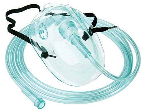 Sauerstoffmaske Sauerstoffmasken f. Erwachsene 1 Stück mit grünem 210cm Sauerstoffschlauch O2-Maske O2-Masken O2 Atemmaske Atemmasken