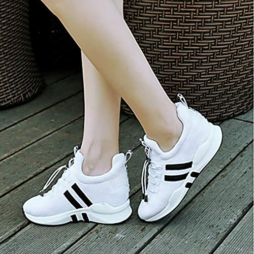 Pied EU38 UK5 À Confort Basket Rond De Femme Chaussures Bout Compensée 5 CN38 Training US7 Printemps 5 Été White Cross Semelle TTSHOES Nylon Course Et Hauteur Fitness zgw8q