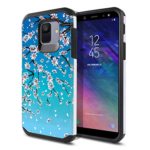 FINCIBO Case Compatible with Samsung Galaxy A6 A600 5.6 inch, Dual Layer Hard Back Hybrid Protector Case Cover Anti Shock TPU for Galaxy A6 - Falling Cherry ()
