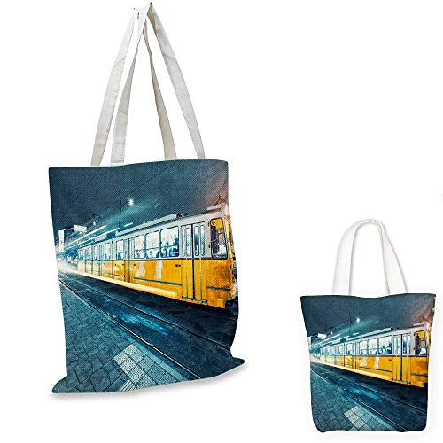 Yellow and Blue thin shopping bag Old Tram in the City Center Vintage Urban Train Station European Town Image canvas tote bagSlate Blue. 15