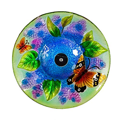 Evergreen Garden Butterfly 18 inch Solar Glass Bird Bath Bowl