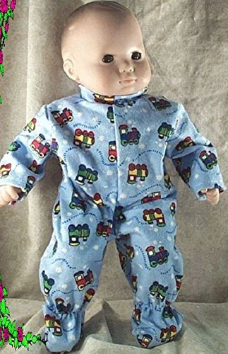 Doll Clothes Baby Made 2 Fit American Girl 15 inch Bitty Pajamas Trains Blue