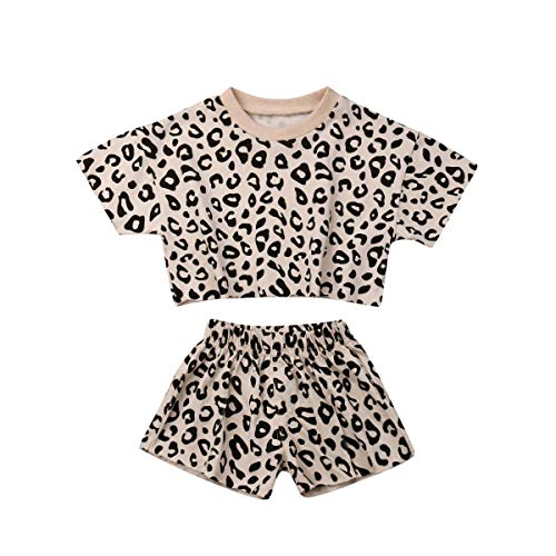 (Baby Girls Cotton Leopard Short Sleeve T-Shirt Top & Short Pants 2pcs Kids Girls Outfits 6 Months - 4 Years Clothes Set (Beige, 2-3 Years))