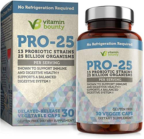 Vitamin Bounty Pro 25 Probiotic with Prebiotics - 13 Strains, 25 Billion CFU, for Gut and Digestive Health with Delayed Release Embocaps™ & Fermented Greens
