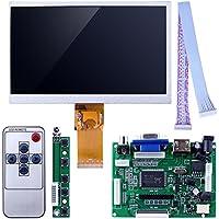 kuman 7 inch LCD Display 1024x600 TFT Screen High Resolution Monitor EJ070NA-01J with Remote Driver Control Board 2AV HDMI VGA for Raspberry Pi 3 2 Model B Rpi B+ B A SC7I