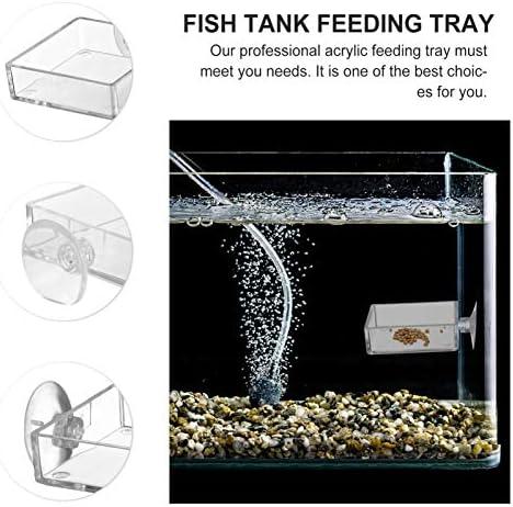 Acuario Plato Alimentador de Camarones Tanque de Peces de Vidrio Cuencos de Alimentación  Bandeja Reptiles Flotantes 10
