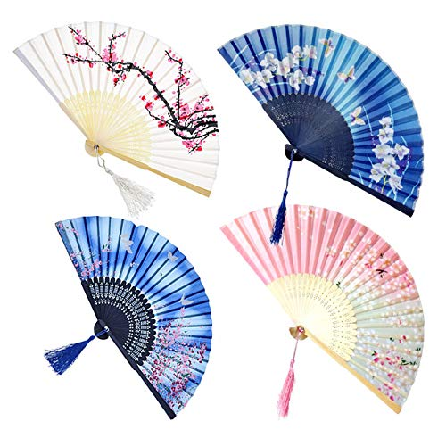 4 Pack Folding Fans Handheld Bamboo Silk Fabric Folding Hand Fans With Tassel Wooden Chinesejapanese Hand Fans Folding Hand Held Fans For Women
