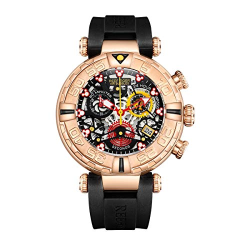 Reef Tiger Top Brand Mens Sport Watches Chronograph Rose Gold Skeleton Watches Rubber Strap RGA3059-S