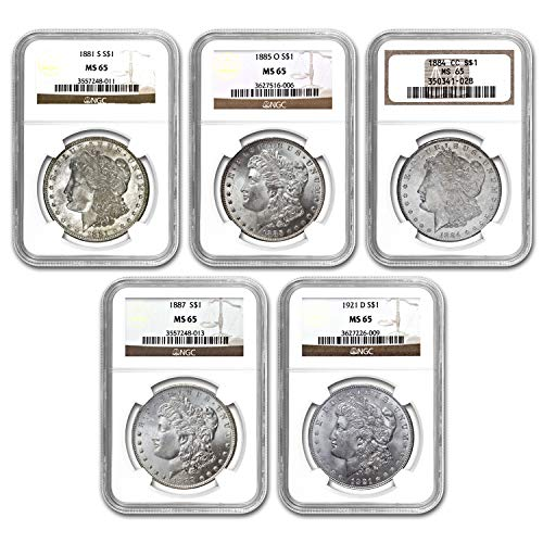 1878-1921 5-Coin Morgan Dollar Mintmark Set MS-65 NGC MS-65