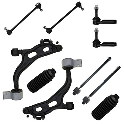 Detroit Axle - New 10-Piece Front Suspension Kit - 2 Lower Control Arms + Ball Joint, 2 Sway Bar Links, all 4 inner & outer tie rod links, 2 rack boots - AWD (Five Hundred and Montego)/after 1/3/05