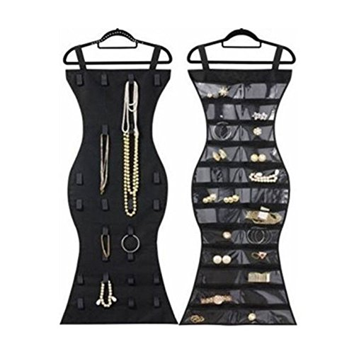 VNFEI Non-Woven Jewelry Organizer Hanging Bag 24 Pockets & 26 Hook-and-loop Tabs Earrings Necklace Bracelet Holder Dual Sided Household Closet Storage Bag by VNFEI
