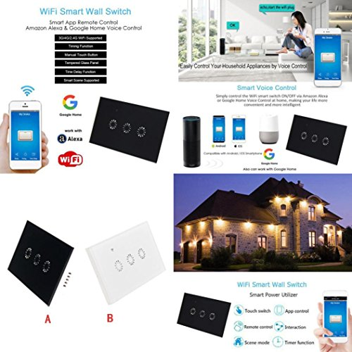 Switch Capacitive Hand Switch Wireless Remote Control Glass 3-gang Smart Home AU/US Crystal Waterproof Glass Touch Screen Light Switch&Mini Remote Wifi phone control (White) by Liu Nian (Image #8)