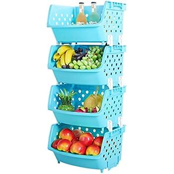 4Pack Market Baskets YIFAN Storage Basket Stacking Baskets Organizer For  Fruits, Vegetables, Pantry Items