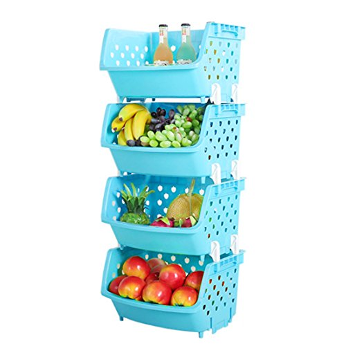 4Pack Market Baskets YIFAN Storage Basket Stacking Baskets Organizer for Fruits, Vegetables, Pantry Items Toys - Light Blue