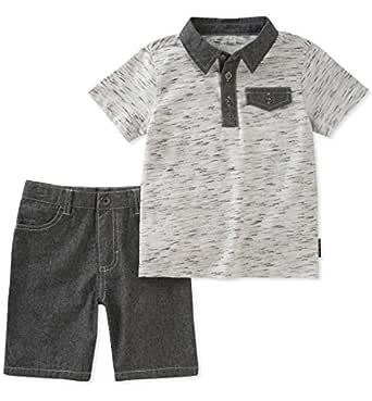Calvin Klein Toddler Boys' 2 Pieces Polo Shorts Set, Gray, 2T