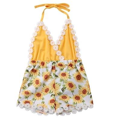 Amazon.com: Mono sin espalda para bebé con diseño de girasol ...