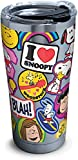Tervis 1301552 Peanuts - Sticker Collage Stainless Steel Insulated Tumbler with Clear and Black Hammer Lid, 20 oz, Silver