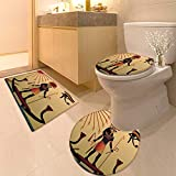 HuaWuhome 3 Piece Extended Bath mat Set Religion of Ancient EgyptRa in The Solar bark Increase