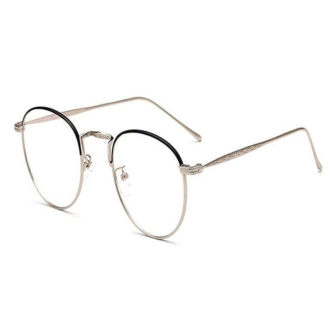 Hzjundasi Oval Gafas para Mujer y Hombres Clear lente Vendimia Metal ...