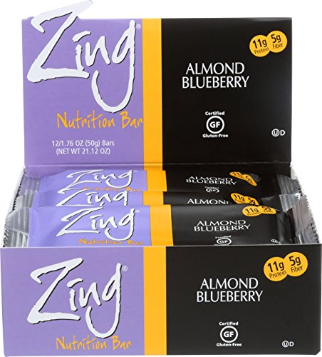 Zing Nutrition Bar, Almond Blueberry, (Pack of 12), Snack Bar for Optimum Energy, Gluten & Soy Free, Whey Protein, Vegetarian