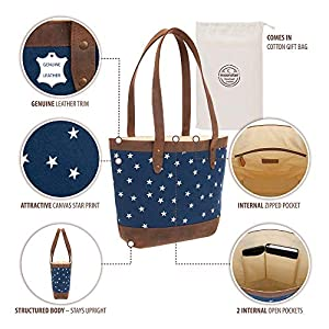 Genuine Leather Canvas Tote Bag – Handmade Over the Shoulder Bags for Women 40x28cm – White Stars on Blue Denim – Premium Cotton Interior with Pockets