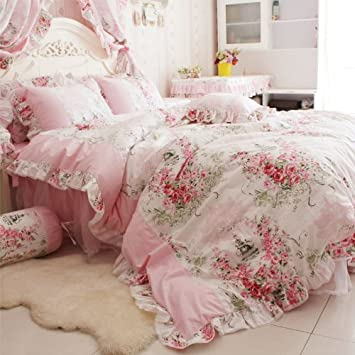 Amazon fadfay home textile pink rose floral print duvet cover amazon fadfay home textile pink rose floral print duvet cover bedding set for girls 4 pieces queen size home kitchen mightylinksfo