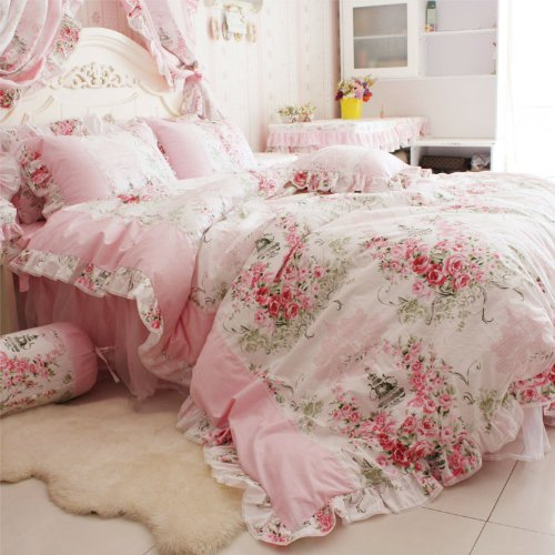 Pink Rose Floral Print Duvet Cover Bedding Set For Girls 4 Pieces