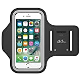Water-resistant Cellphone Armband for iPhone 8/7/6S/6, MoKo Sweatproof Running Sports Armband for iPhone, Samsung, Huawei, Moto, Google and Devices up to 5.2 Inch - BLACK (Fits Arm Girth 10.8