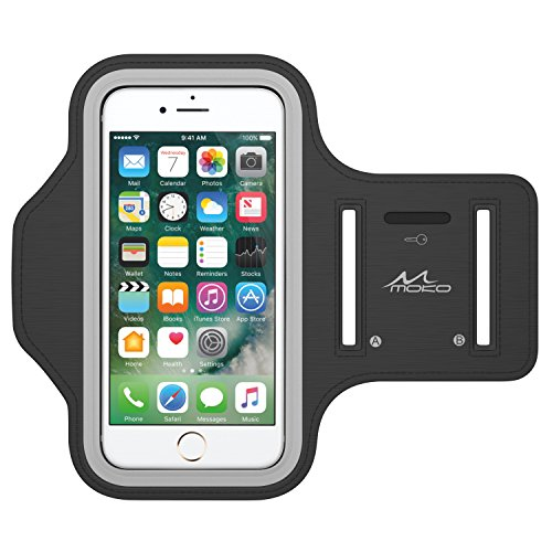 iPhone 7 / iPhone 6s / iPhone 6 Armband, MoKo Sweatproof Sports Running Armband Workout Arm Band Cover for iPhone 7, 6S, 6, 5S, 5, Galaxy S7, S5, Moto G, BLU 5.0, Black (Fits Arm Girth 10.8