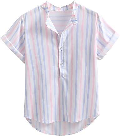 Camisa Hawaiana del Hombre Camisetas De Los Hombres Camisa De Manga Corta Hombre BotóN Estampado De Flores Camisetas Camisa A Rayas Camisas Tropicales del Partido Ancho De La Playa: Amazon.es: Ropa y