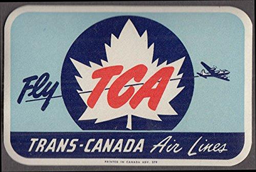 Trans-Canada Air Lines TCA unused baggage sticker gummed 1950s