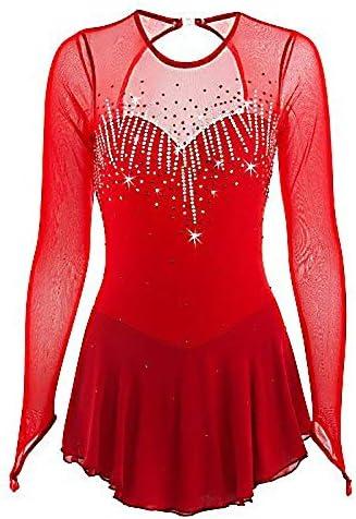 フィギュアスケートドレス女性女子アイススケートのパフォーマンス競争コスチュームスパンデックスラインストーン手作りスケート長袖を着用してください レッド M