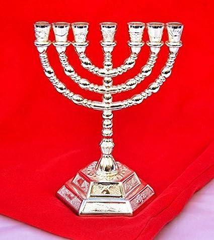 Menora 7 Branch Jewish Israel Holy Land Jerusalem.12 Tribes Design-pewter Color 5 Decorative Menorah