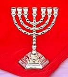 Decorative Menorah , Menora 7 Branch Jewish Israel Holy Land Jerusalem.12 Tribes Design-silver Color 5 by holyland souvenir