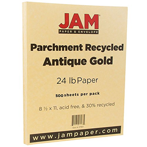 JAM PAPER Parchment 24lb Paper - 8.5 x 11 - Antique Gold Recycled - 500 Sheets/Ream ()