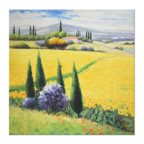 7CANVAS -Handmade Tuscan Oil Painting Wall Art- Landscape Scene Rustic Wall Decor Stretched Canvas Painting Artwork Yellow Flower Field Wall Picture for Home Decor(Yellow Tuscany, 32x32 Inch)