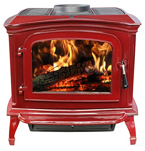 Ashley Hearth Products Ashle Red Enameled Porcelain Cast Iron Wood Stove (Enameled Stove Wood)