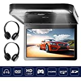 Flip Down DVD Player Video Monitor for Car SUV with HDMI USB SD IR Wireless Headphones 13.3 inch 1080P Black