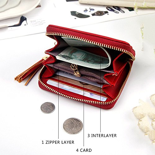 pièce Court Wallet Color Cuir PU Zero Femmes Pendentif Gland Sac Red Petit Red Lovely rabbit YHwqTvc
